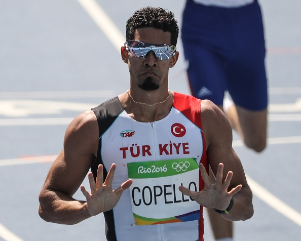 RIO DE JANERIO, BRAZIL - AUGUST 15: Yasmani Copello of Turkey competes in the Men's 400 meter steeplechase final of the Rio 2016 Olympic Games in Rio de Janeiro, Brazil on on August 15, 2016.  (Photo by Salih Zeki Fazlioglu/Anadolu Agency/Getty Images)